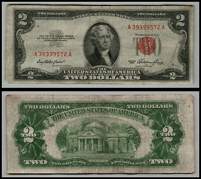 1953 $2 Dollar Bill Old Us Note Legal Tender Paper Money  Red Seal  Lot E463