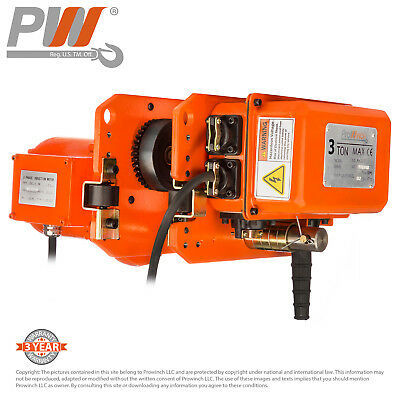 Prowinch 6,600 lbs 3 Tons. Power Trolley 3 Phase. Pendant control not included.