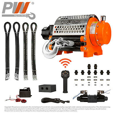 Hydraulic Winch Incorporated Roller 20,000 lbs. Heavy Duty 12V Wired/Wireless...
