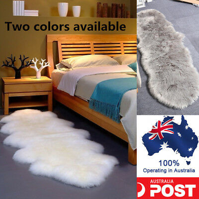 200*75CM DOUBLE Premium Quality Soft Sheepskin Lambskin Rug Pelt White Grey AU