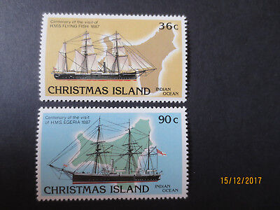 no--1-- 1987  CHRISTMAS  ISLAND VISIT  HMS  SHIPS  ISSUE'S  2  STAMPS-MINT