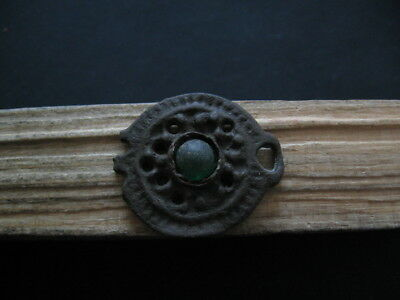 Openwork Sun With Green Glass Ancient Celtic Bronze Solar Talisman 300-100 B.c.