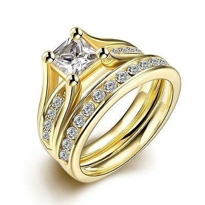 18K Gold Plated Stainless Steel Wedding Couple Ring Engagement Rings Set (2 pcs)