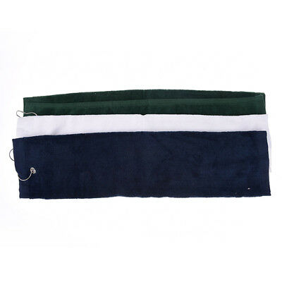 1pc 60x40cm tri-fold hiking cotton golf sport bag towel with carabiner clip MD