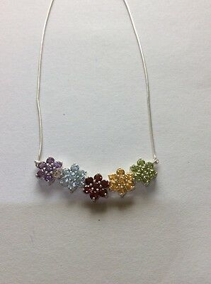 Multi Color Gems Flower Necklace