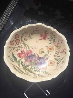 """Wedgwood Fruit Bowl 10"""" - Arts & Crafts Flower Pattern Hand Painted"""