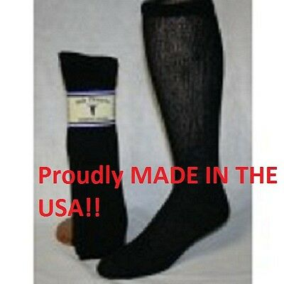 Black Diabetic Socks Over the Calf Socks Sole Pleasers 3 to 12 Pair size 13-15