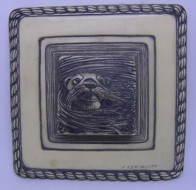 Nicely Detailed Collector`s Otter Wall Art Plaque W/ Felt Backing