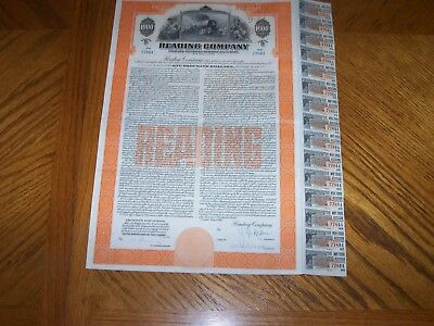 Reading Company Railroad Bond Certificate with Coupons. Gold