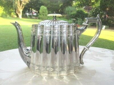 Victorian Teapot Parkin & Marshall Sheffield Silver Plate Ornate Etching