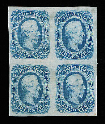 Genuine Confederate Csa Scott #12 Die-B Block Of 4 Mint Ng Blue Archer & Daly
