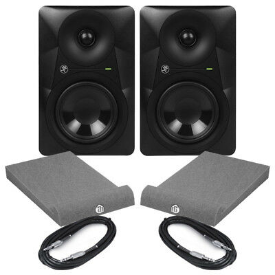 """Mackie MR524 (Pair) 5"""" Active Studio Monitors With Isolation Pads & Cables"""