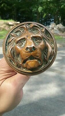 Antique Victorian Kruezinger Russell & Erwin Lion Brass Bronze Doorknob Old Set