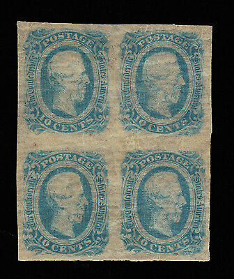 GENUINE CONFEDERATE CSA SCOTT #12a BLOCK-4 MINT OG MILKY BLUE DIE-B ARCHER DALY