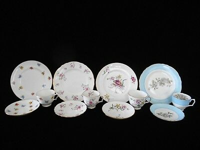 """4 Different Crown Staffordshire Bone China Cups Saucers & 8 1/4"""" Plates Trios"""