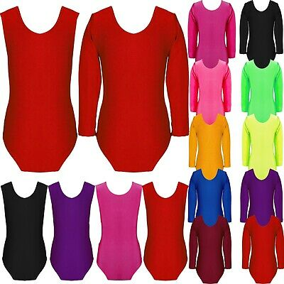 Kids Girls Gymastics Leotard Dance Long Sleeve Round Neck Bodysuit Top Childrens