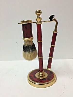 "Shaving Set Deluxe Brass & Red- Razor, Brush & Stand 7 1/2"" tall"