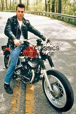 1990 Johnny Depp Leather Jacket Harley Davidson Motorcycle 8X12 Photo Tough Guy