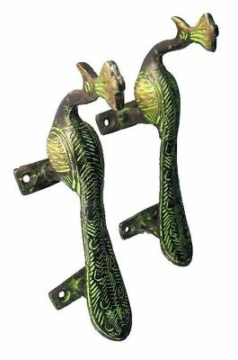 Antique Finish Peacock Brass pair Door Handle - Birds Vintage Style Decorative