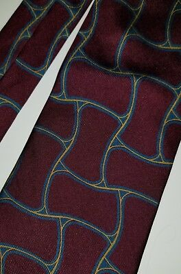 Hugo Boss Men's Silk burgundy/red teal gold Geometric Necktie Tie 100% Italy