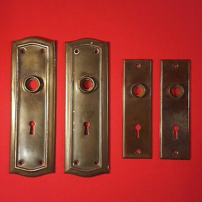 Vintage Lot of 4 Face Plates Door Metal Keyhole Cover Backplates Original