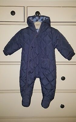 Next Boys Navy Blue Snowsuit With Star Print Fleece Lining - Age Up To 1 Month.