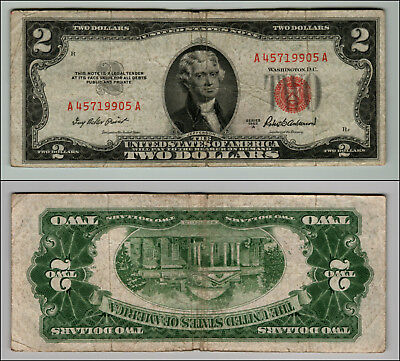 1953A $2 DOLLAR BILL OLD US NOTE LEGAL TENDER PAPER MONEY CURRENCY RED SEAL p631