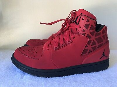 uk availability 34e0c d111e NIKE JORDAN 1 FLIGHT 3 706954-601 Red Leather LaceUp Trainers Size 9/44 VGC