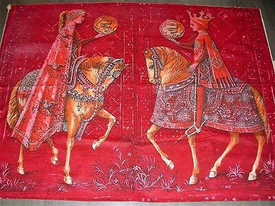 "Vintage 50s 60s Sanderson prince princes on horses Cotton fabric panel 38"" X51"""