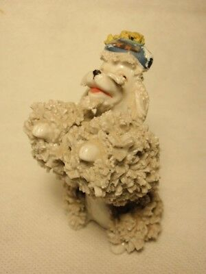 Porcelain Spaghetti Lace Poodle Dog Wearing Hat Figurine