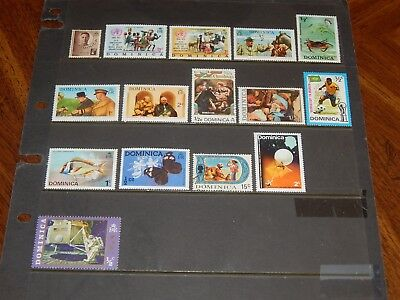 Dominica stamps - 15 mint hinged & used early stamps - nice group !!
