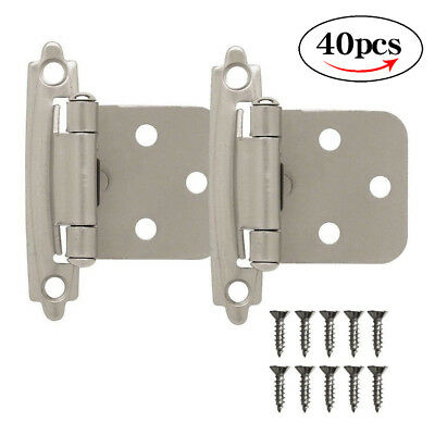 40pcs 20pairs Kitchen Cabinet Hinges Self Closing Face Mount Cupboard Door Hinge