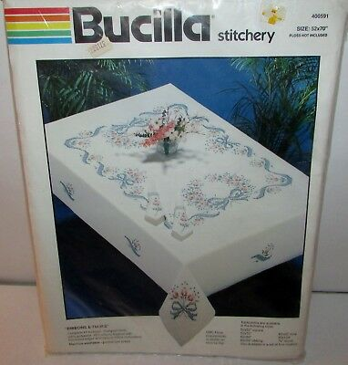 Unused / Unopened Bucilla Ribbons & Tulips Tablecloth for Embroidery 52 x 70