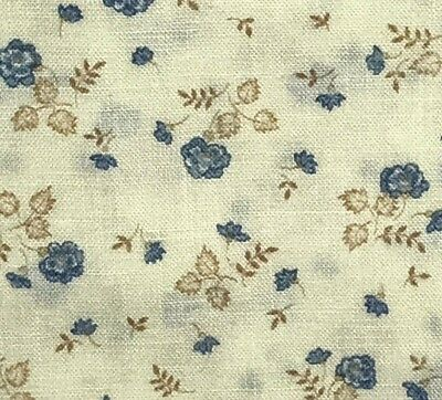 1/2 Yd Vintage Wamsutta Blue Roses on Cream Floral Cotton Quilt Fabric BTHY