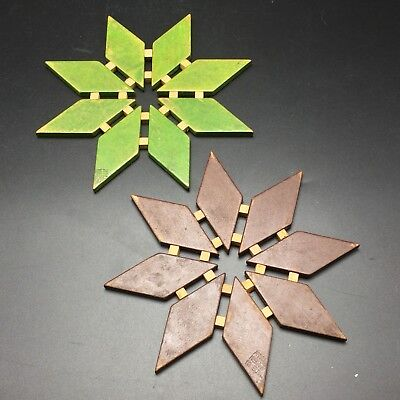 Vtg MC Wood Trivets Coasters Xmas Ornaments Flower Star Shaped Western Germany