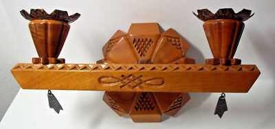 Vintage folk art Arts and Crafts Mission style candle wall sconce, wood copper!