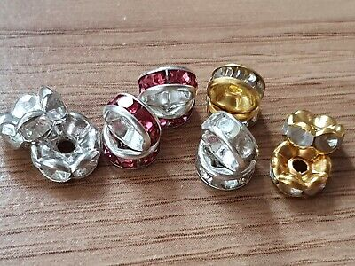 50 Rhinestone Rondelle Spacer Beads 6Mm - Silver/gold-Various Colours