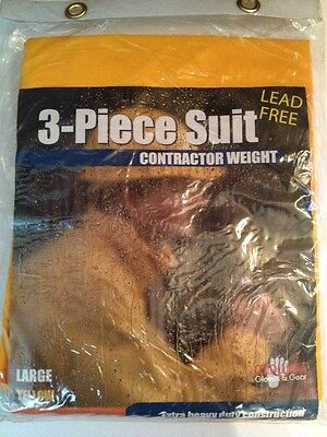 NEW Midwest 3 Pcs Rain Suit Contrator Weight Jacket, Bib & Hood #3000 Adult Lg