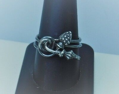 SB Designer Oxidized Sterling Silver Celtic Twisted Double Band Ring Sz 9