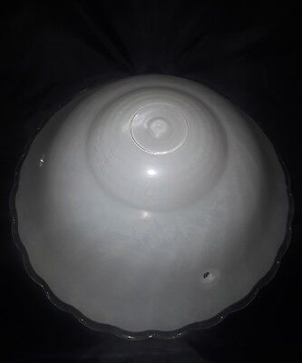 Vintage ceiling fixture light shade 3 chain lamp white milk and clear  glass