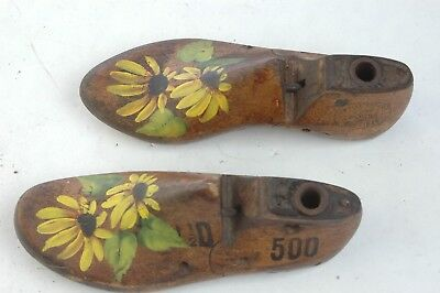 Wood Child Mold Shoe Set 11.5 D Empire Branch 1947 Stamped, Flower Handpainted