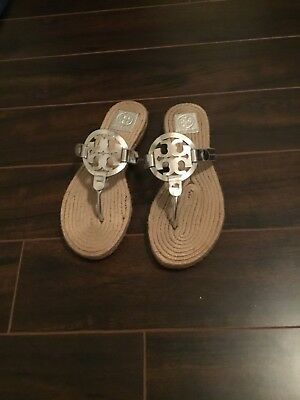 004487141e1d TORY BURCH MILLER Espadrille Sandals Metallic Silver Leather Size 10 ...