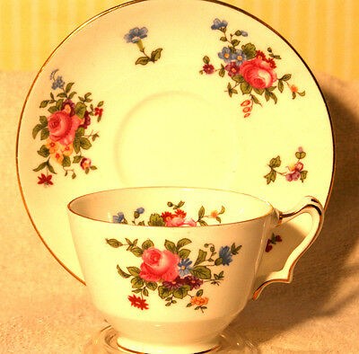 Crown Staffordshire China Tea Cup Saucer Rose Floral Spray Rare Pattern
