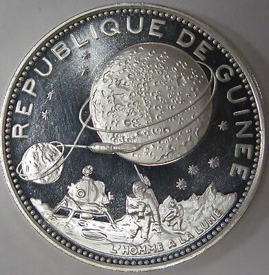 1969 Guinee Guinea 250 Francs Proof Silver Coin Lunar Landing KM# 12
