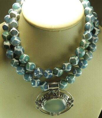Statement 2 strand Tibetan Blue  White Agate Necklace  Large Chalcedony Pendant