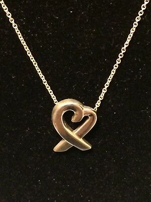 Tiffany and Co. Sterling Silver Paloma Picasso Loving Heart Necklace