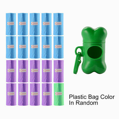 Poo Bag Dispenser Dog Bone Box Pet Waste Holder with Clip + 20 Plastic Bag FA335