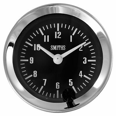 Smiths Classic 52mm Electrical 12 Hour Analogue Clock - Black Dial Chrome Bezel