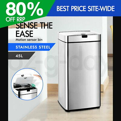 45L Motion Sensor Stainless Steel Bin Rubbish Automatic Trash Kitchen Office