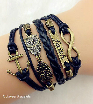 5 x TOP QUALITY BLACK BRONZE FAITH ANCHOR TWO OWLS CHARMS WAX LEATHER BRACELET